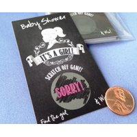 "Vintage Chalkboard ""It's a Girl"" Baby Shower Scratch Off Game Card ~ Set 25 Cards ~ Game Card Set"