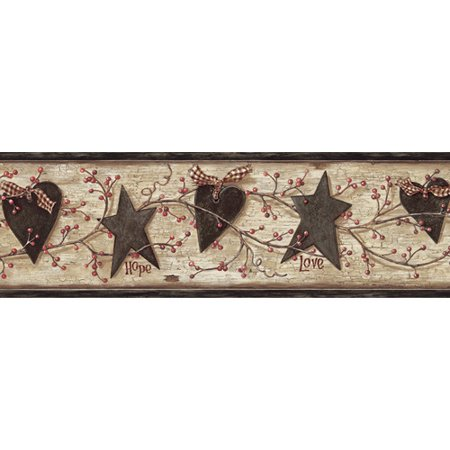 Brewster Home Fashions Borders by Chesapeake Chrissy Faith Love Trail 15' x 6'' 3D Embossed Border Wallpaper ()