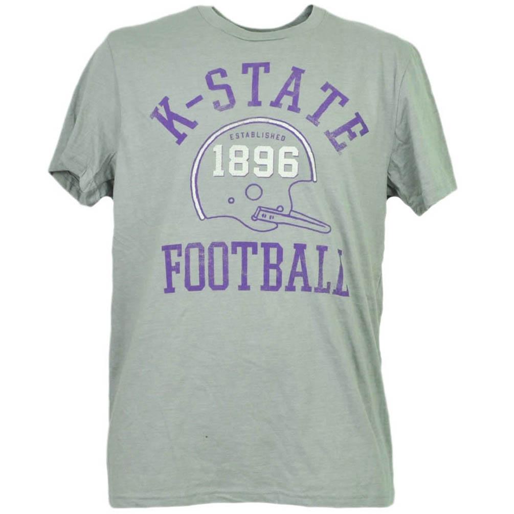 NCAA Kansas State Wildcats Helmet Gray Tshirt Tee Short Sleeve Mens Adult Medium