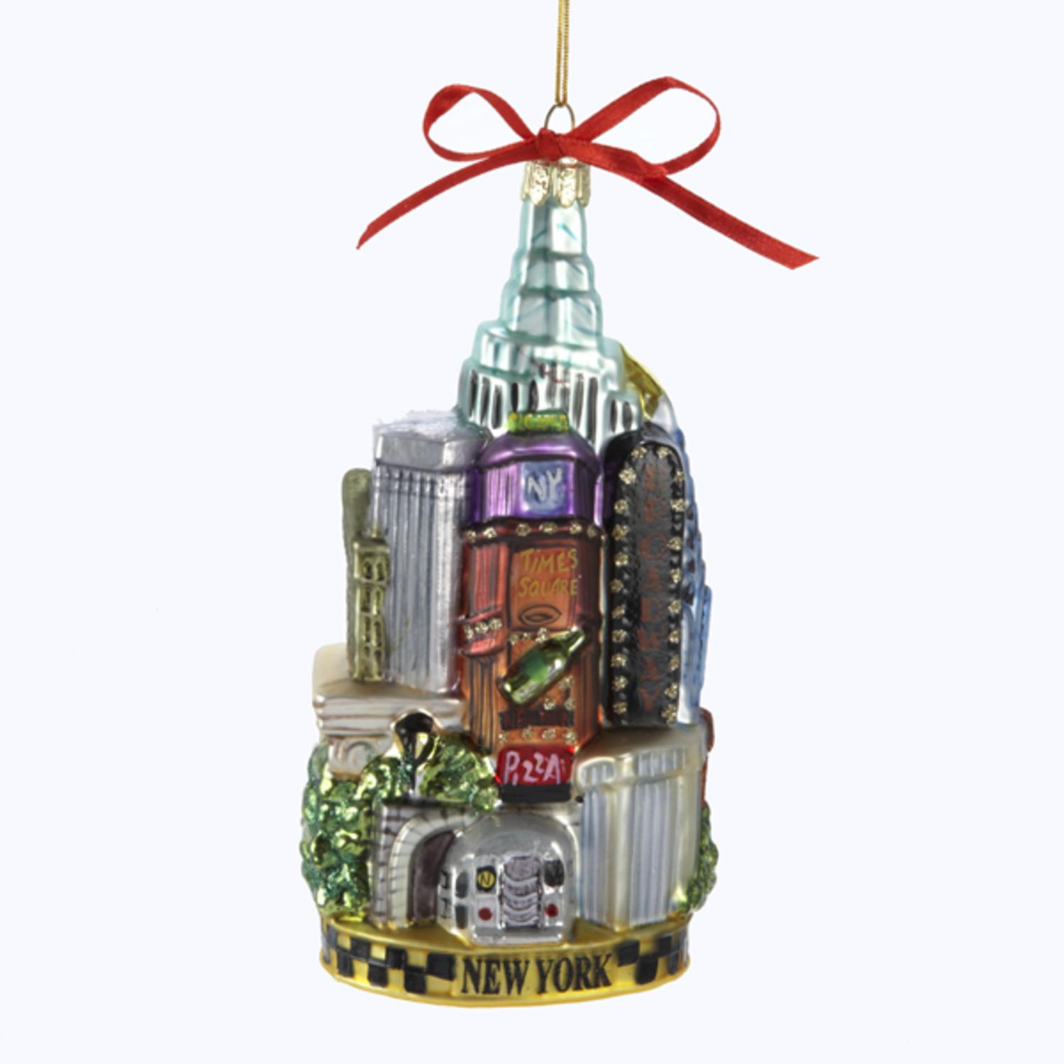 """Pack of 6 New York Cityscape Glass Christmas Ornaments 5.5"""""""
