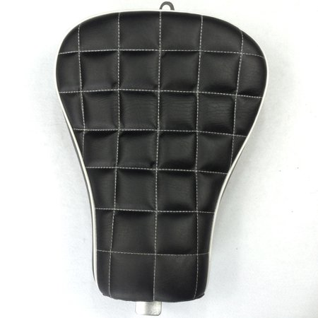 Front Check - HTT Motorcycle Black Custom Front Solo Driver Checks Style Leather Seat For 2010 2011 2012 2013 2014 2015 Harley Davidson XL1200X X48 X72