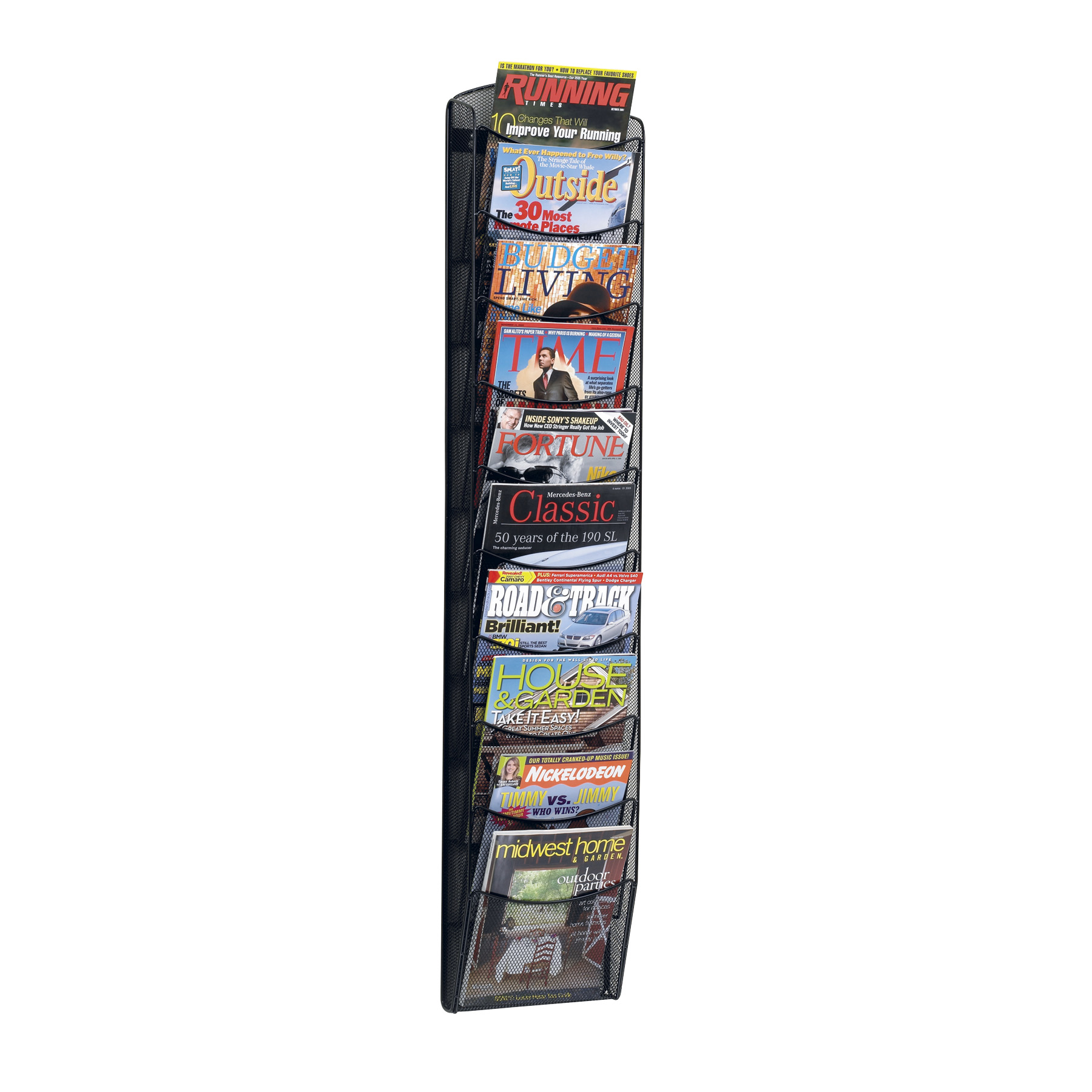 Onyx Mesh Magazine Wall Rack, 10 Pocket