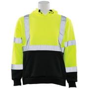 W377 ANSI Class 2 Polyester Fleece Hooded Sweatshirt in Hi-Viz Lime/Black Bottom, LG