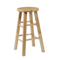 "Mainstays Fully Assembled Natural Wood Bar Stool, Multiple Heights (24"" and 29"")"