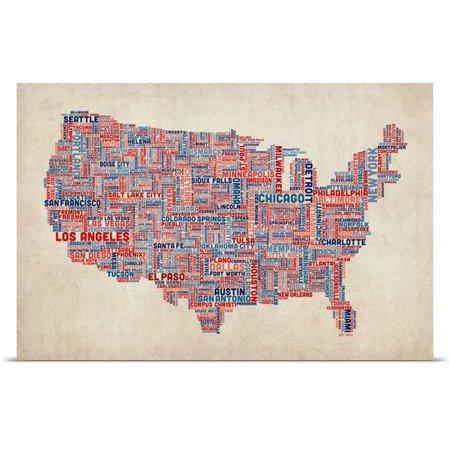 Great BIG Canvas Michael Tompsett Poster Print Entitled United - Us parchment map