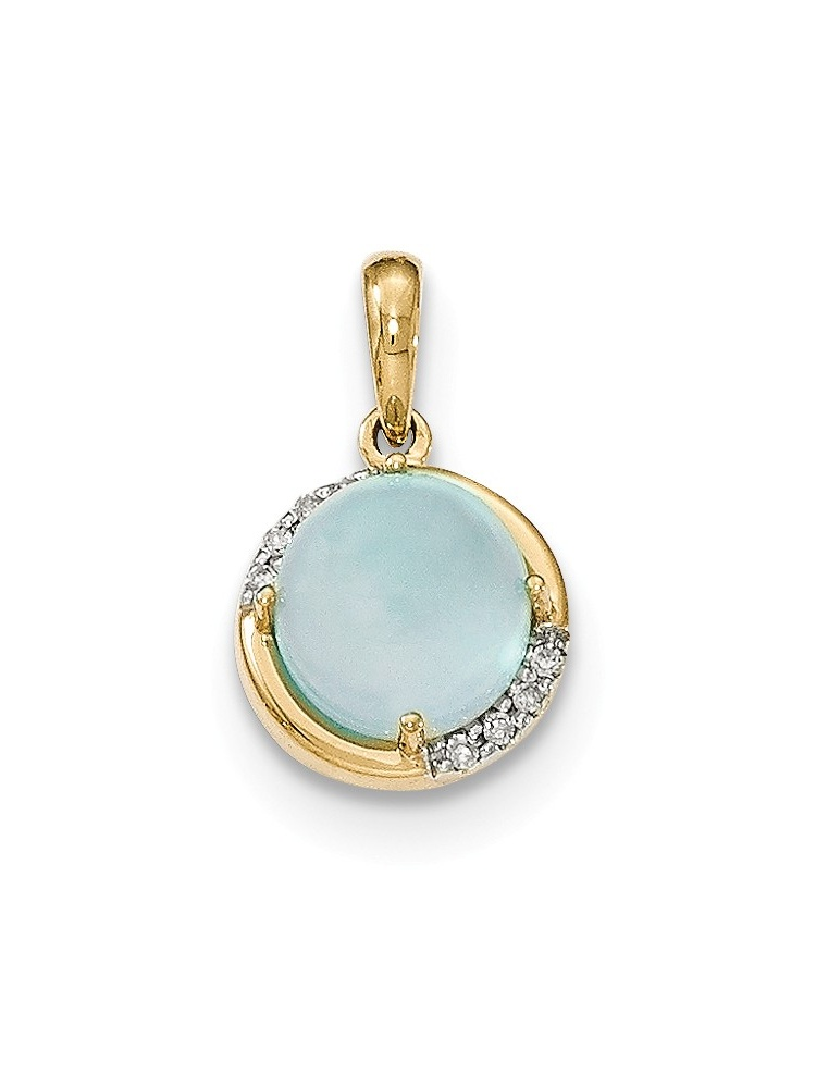14K Yellow Gold (0.04cttw) Blue Chalcedony and Diamond Pendant by