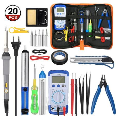 20 in 1 ElectronicSoldering Iron Gun Kit Set Adjustable Temperature Welding Tool Set US Plug 60W