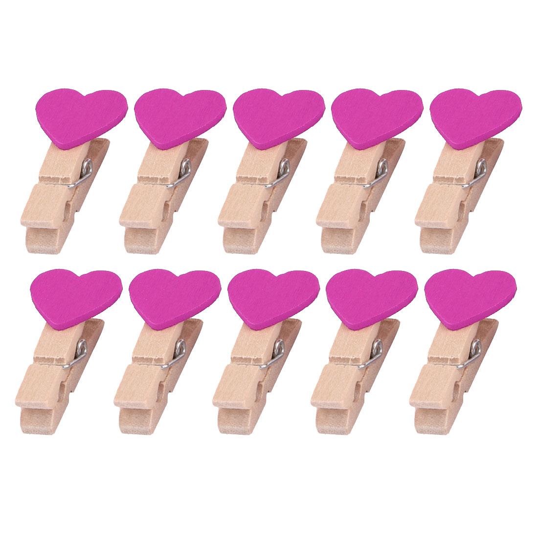 Family Wooden Heart Shape DIY Crafts Card Photo Ornament Peg Clip Fuchsia 10pcs