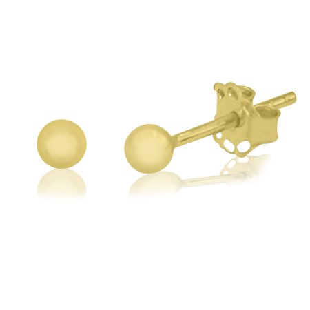 14K Yellow Gold 3mm Shiny Ball Stud Earrings