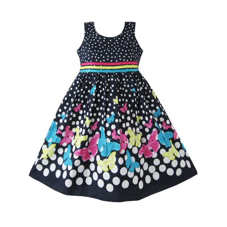 Girls Dress Navy Blue Butterfly Party Princess Child Clothes 4-5 - Butterflies Clothing