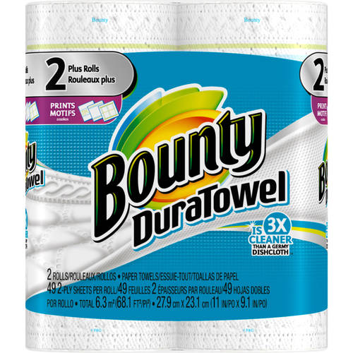 Bounty DuraTowel King Rolls Prints Paper Towels, 49 sheets, 2 count