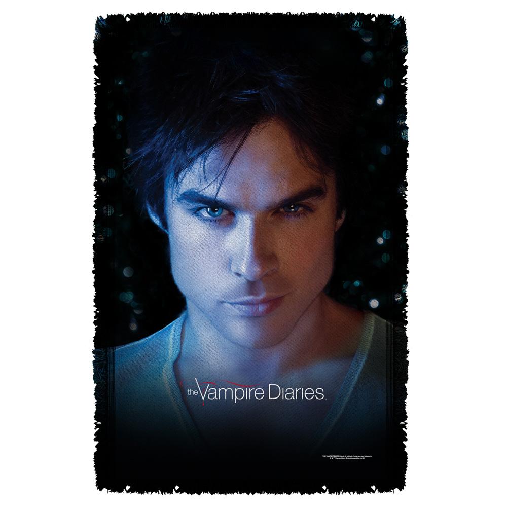 Trevco Vampire Diaries Damon Eyes Woven Throw White 48X80