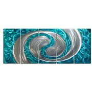 Metal Artscape MA10119 59 X 24 in. Ocean Swirl 5-Paneled Handmade Metal Wall Art