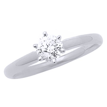White Natural Diamond Solitaire Engagement Ring in 14K White Gold (0.5 cttw)