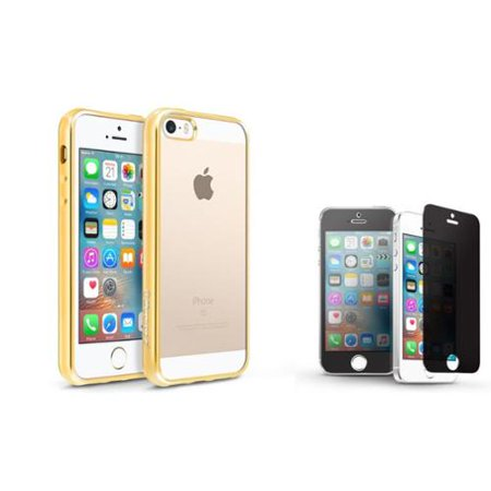 BasAcc Clear TPU Back Cover with Gold Chrome Edge Bumper For iPhone SE 5S 5 (+ Privacy Tempered Glass