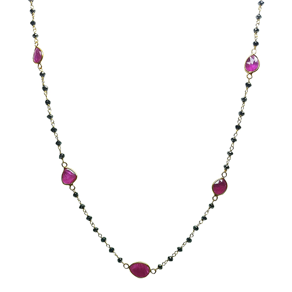 9.00 CTW 14K Yellow Gold Necklace with Black Diamond Rosary Beads and Ruby Slices by