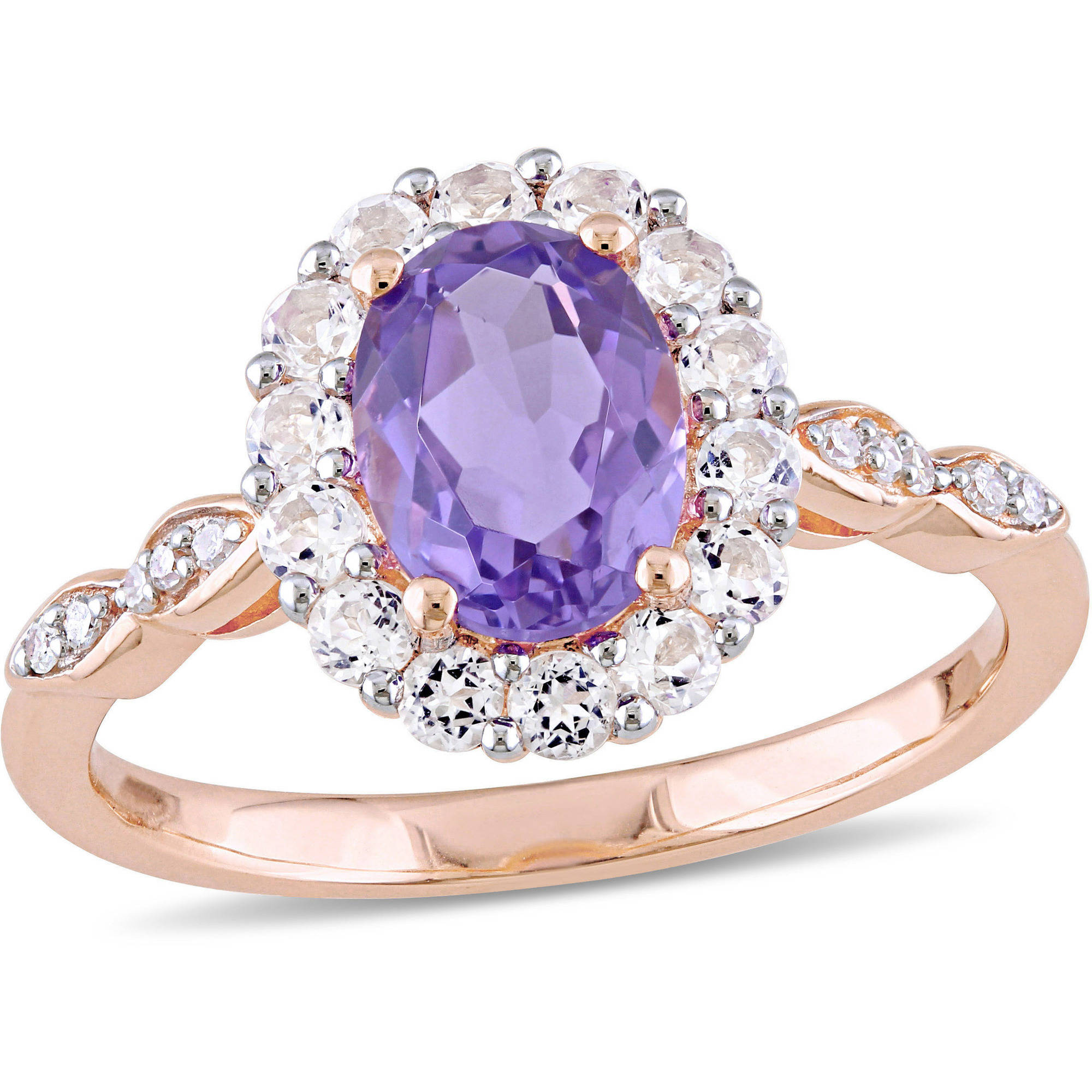 Tangelo 1-5 8 Carat T.G.W. Amethyst, White Topaz and Diamond-Accent 14kt Rose Gold Vintage Ring by Tangelo