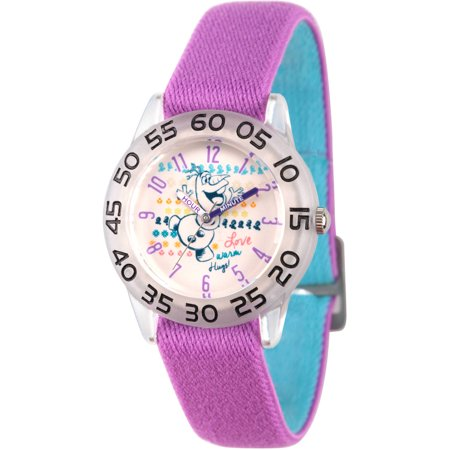 Disney Frozen Olaf Girls' Clear Plastic Time Teacher Watch, Reversible Purple and Blue Nylon Strap