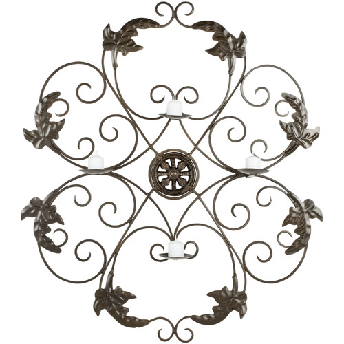 Ivy and Leaf Wrought Iron Medallion Candle Wall Sconce - 32.3H in.
