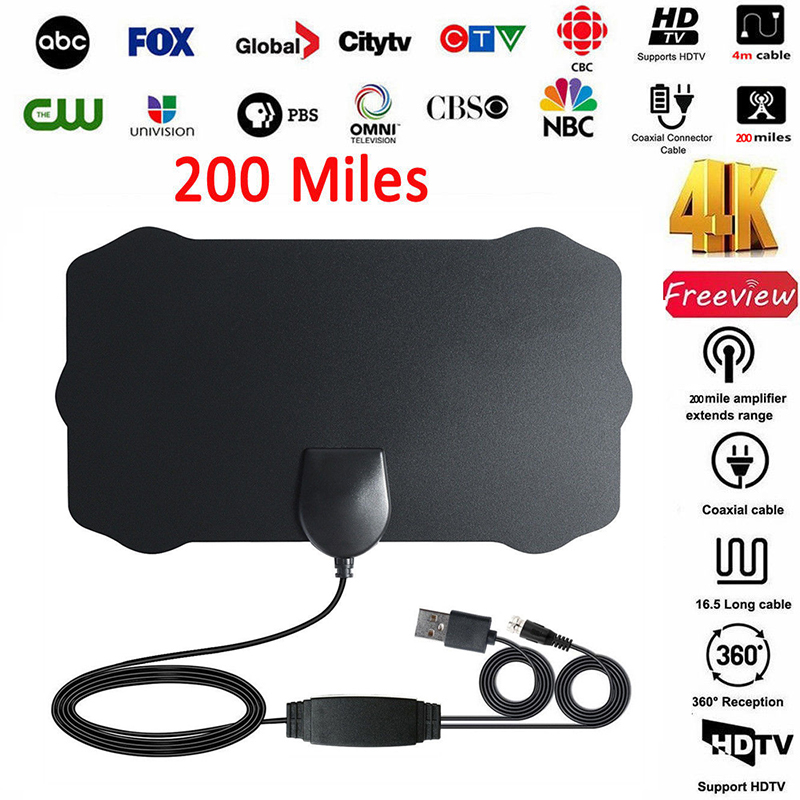Antenna TV Digital HD 200 Mile Range Skywire TV Indoor 1080P 4K 13ft Coax Cables - image 5 of 5