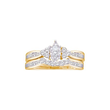 Gold Diamond Wedding Set (14kt Yellow Gold Womens Marquise Diamond Bridal Wedding Engagement Ring Band Set 1/2 Cttw )