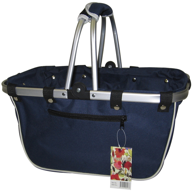 JanetBasket Navy Large Aluminum Frame Basket Multi-Colored