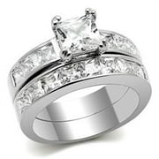 Classic New Stainless Steel Square Solitaire CZ Wedding Ring Set - Size 5