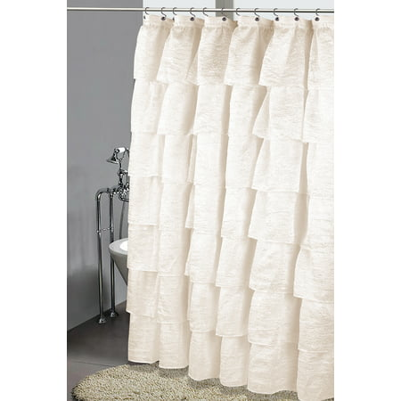 Golden Linens Crushed One Piece Voile Sheer Shabby Chic Gypsy Ruffle Window Curtain Panel (Shower Curtain 70