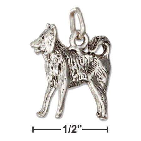 Sterling Silver Three Dimensional Border Collie Dog Charm