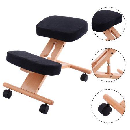 goplus adjustable mobile ergonomic wooden kneeling chair walmart com