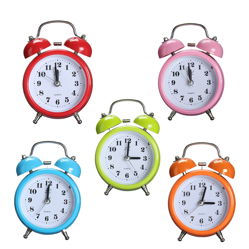 M.way Mini Classic Silent Double Analog Twin Bell Alarm Clock Quartz Movement Bedside with Loud Alarm Night Light,green... by