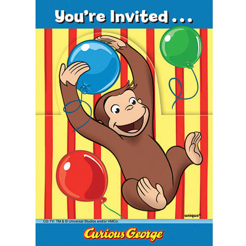 curious george invitations, 8ct - walmart, Party invitations