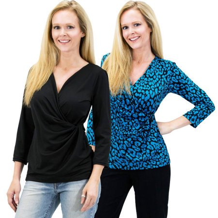 Stretch Knit Wrap Top - 2 For 1 Clothes Women's Solid/Print V Neck 3/4 Sleeve Knit Front Drape Wrap Jersey Tops Side Shirring Blouse (Teal/Black Prints & Black)(S)