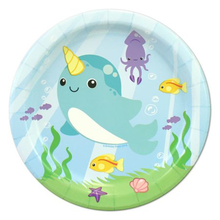 Narwhal Fantasy Party Paper Dessert Plates, 7in, 24ct ()