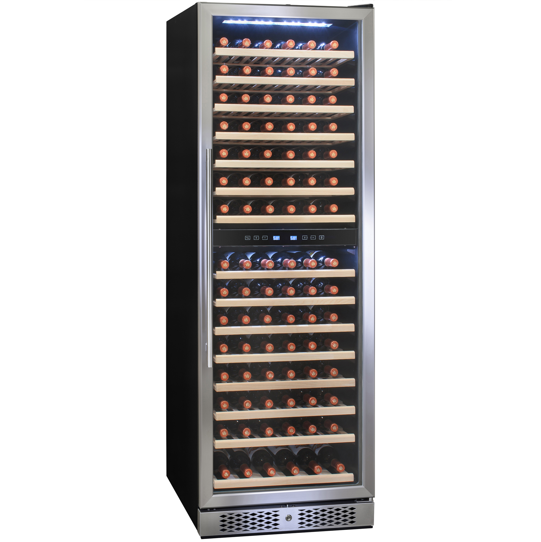 Image of AKDY 160 Bottle Dual Zone Compressor Touch Control Freestanding Wine Cooler Chiller