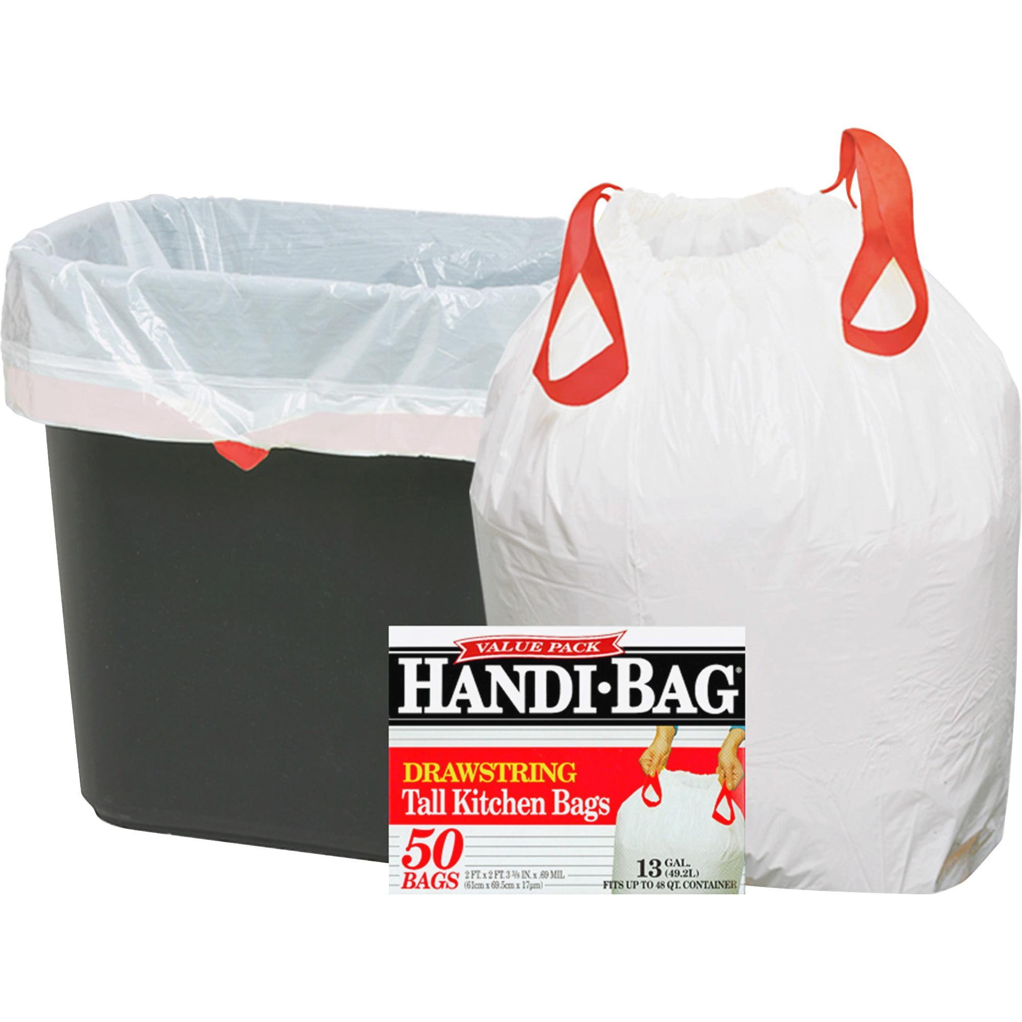 Webster Handi-Bag Tall Kitchen Drawstring Bags, 13 Gallon, 50 Count