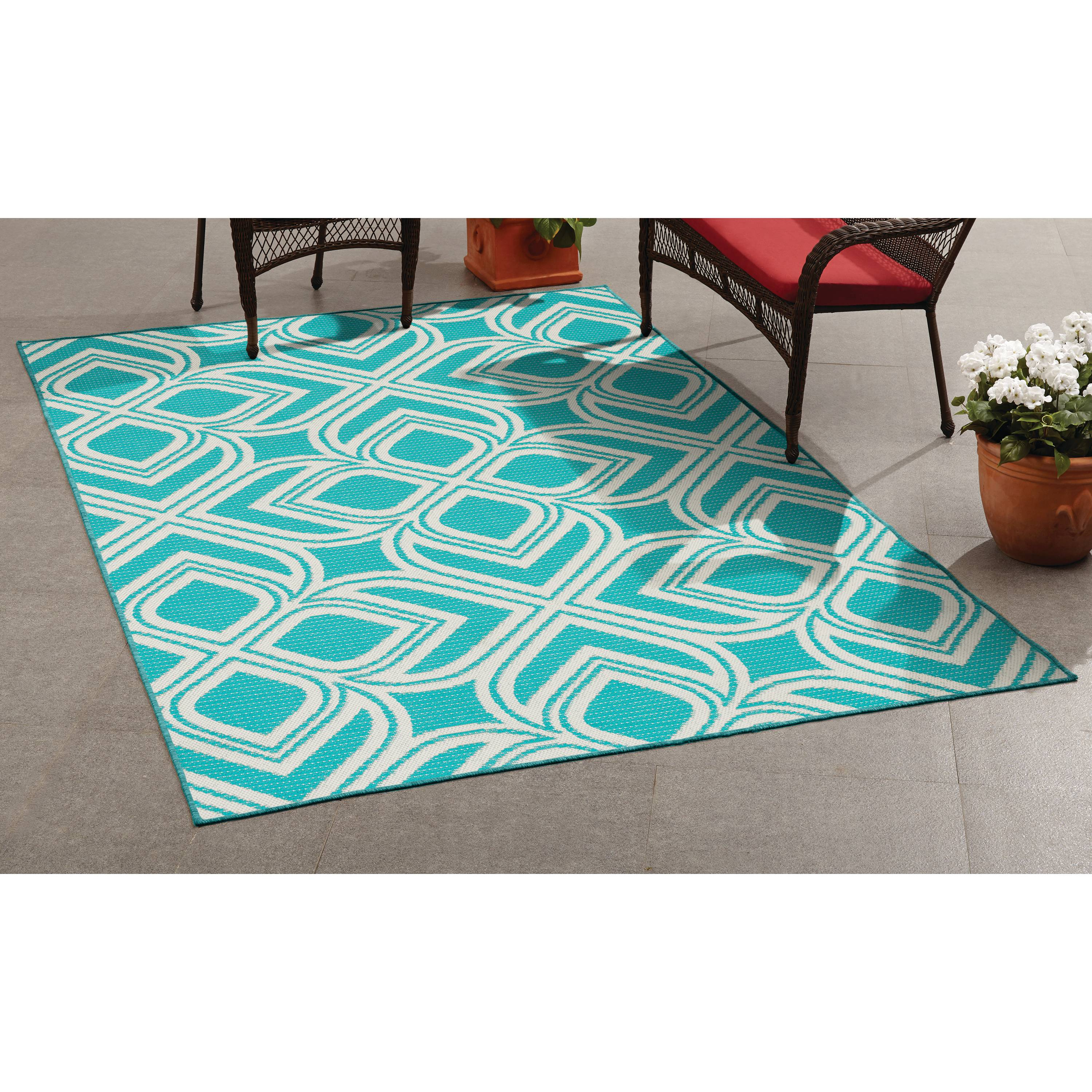 Mainstays Maisntays 5x7 Outdoor Teal Rug