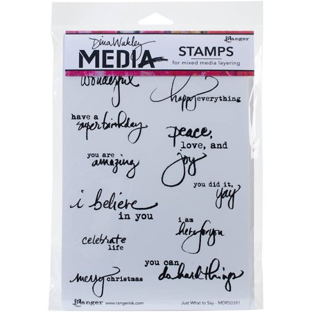 """Dina Wakley Media Cling Stamps, 6"""" x 9"""", Just What to Say"""