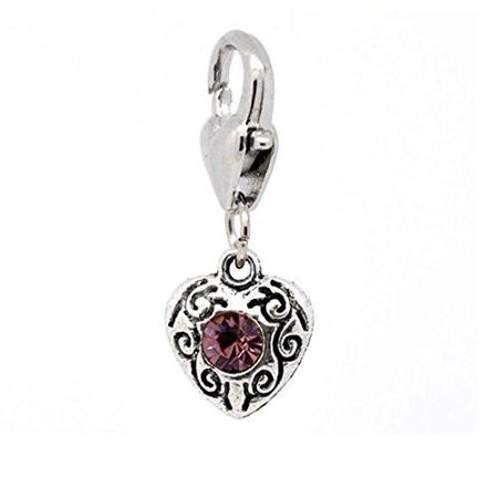 Antique Silver February Rhinestone Heart Clip On Charms  Fits Thomas Sabo 26X10mm