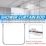 31-51 inch Adjustable Curved Shower Curtain Rod U Shape Bathroom Rail Rod