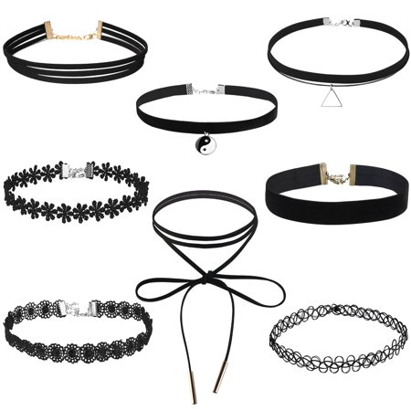 FENICAL 8pcs Velvet Collar Choker Necklace for Teen Girls and Women Lace Choker Tassel Gothic Tattoo Necklace (Cheap Tattoo Choker)