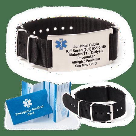 Medical Medical Id Bracelet - NATO Nylon Medical Alert ID Bracelet. Custom Engraved! Choose Color!