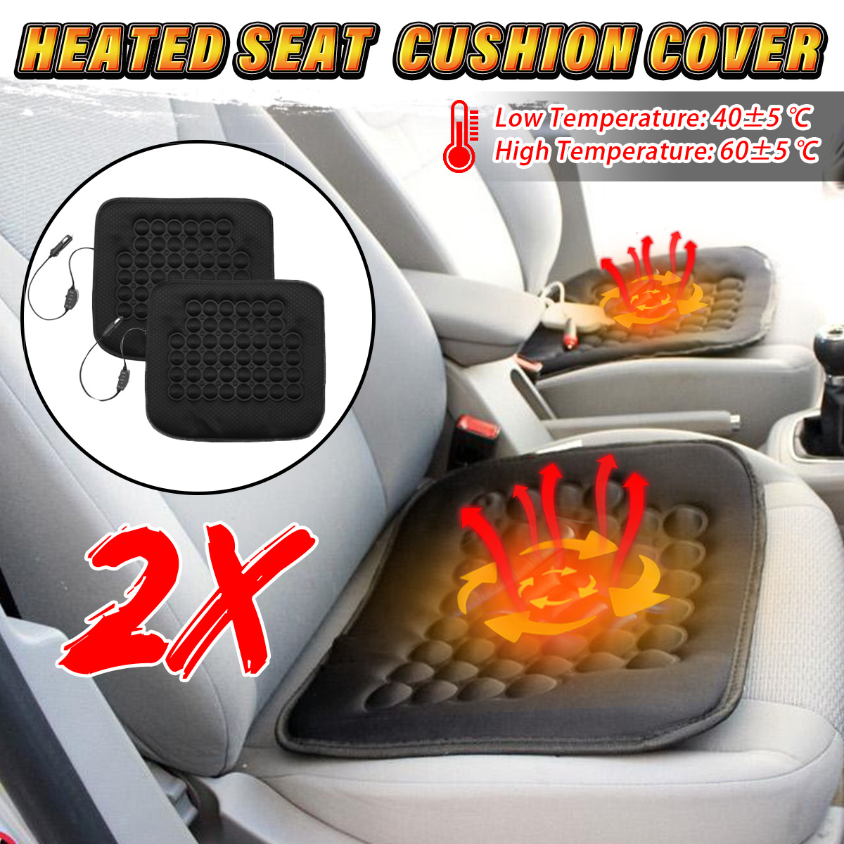 Electric Car Front Seat Heated Cushion Thermal Heating Pad Black 12V 30W  Winter Warmer Cover Black Vehicle Van Auto SUV Truck Caravan Fiber Cloth US