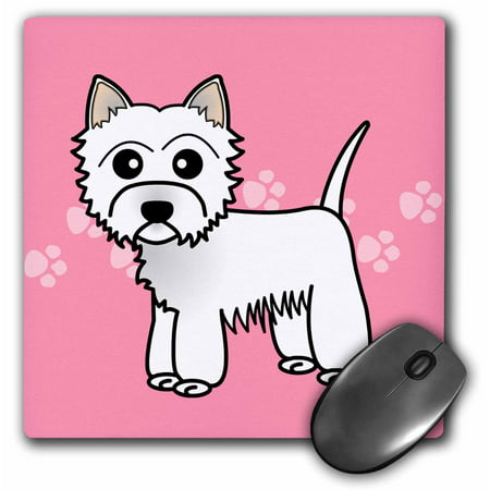 3Drose Cute Cartoon West Highland Terrier   Westie Dog On Pink Paw Prints  Mouse Pad  8 By 8 Inches