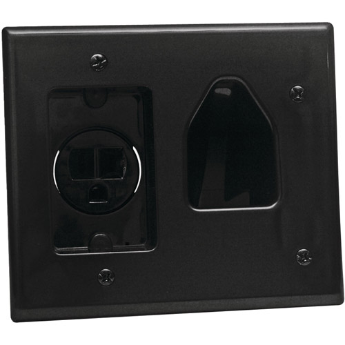 DATACOMM ELECTRONICS 45-0021-BK 2-Gang Recessed Low-Voltage Cable Plate with Recessed Power (Black)