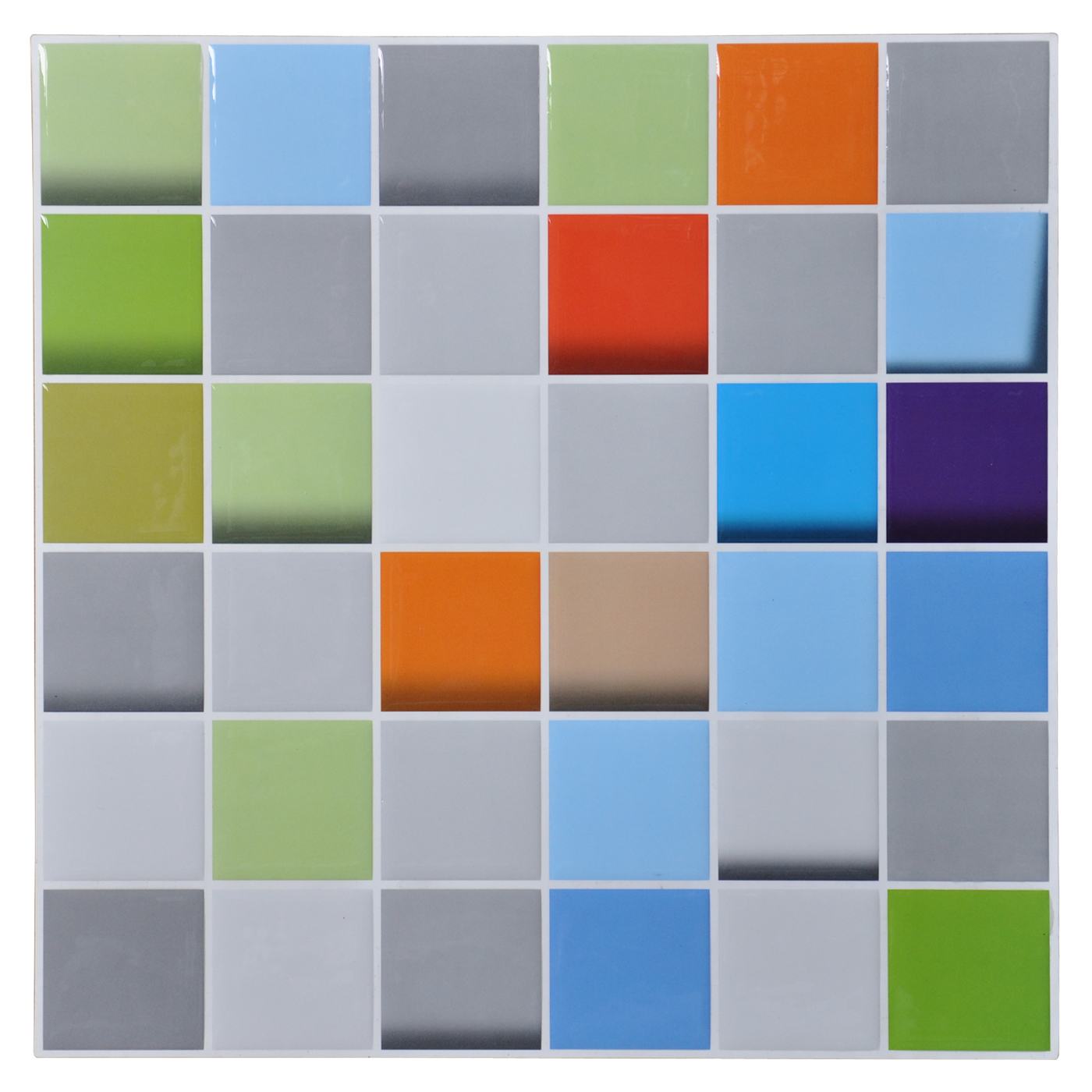 "Art3d 12""x12"" Self Adhesive Wall Tile Peel and Stick Mosaic Backsplash for Kitchen, Colorful Square (6 Pack)"