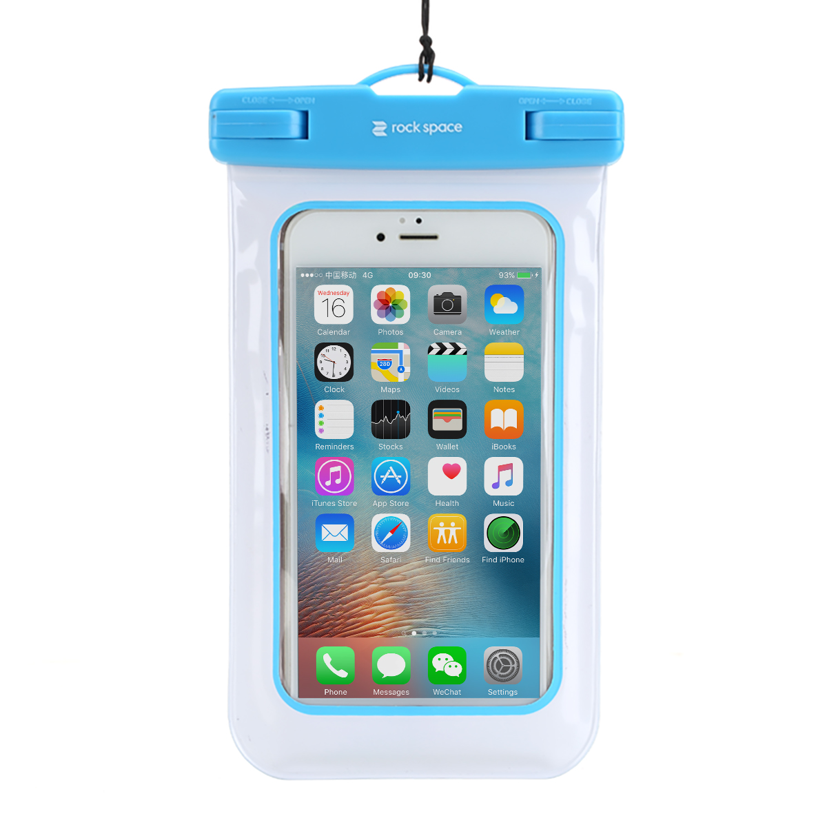 "Universal Waterproof Case Pouch, IPX8 Certified to 100 Feet Cellphone Dry Bag for most smartphones up to 6.0"" - Light Blue"