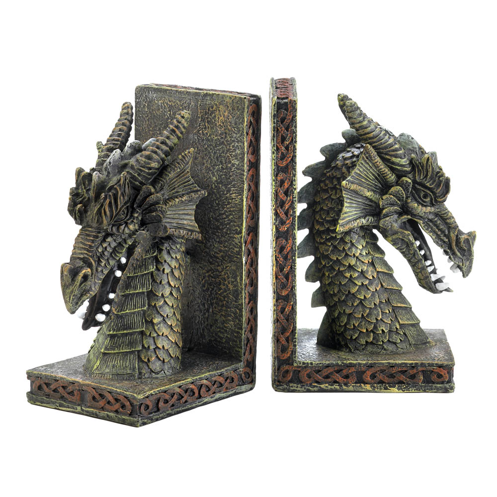 Gentil Office Bookends, Rustic Adjustable Bookends, Modern Fierce Dragon Bookends