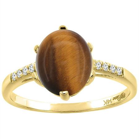 14K Yellow Gold Natural Tiger Eye & Diamond Ring Oval 10x8 mm, size - Nature Tiger Eye