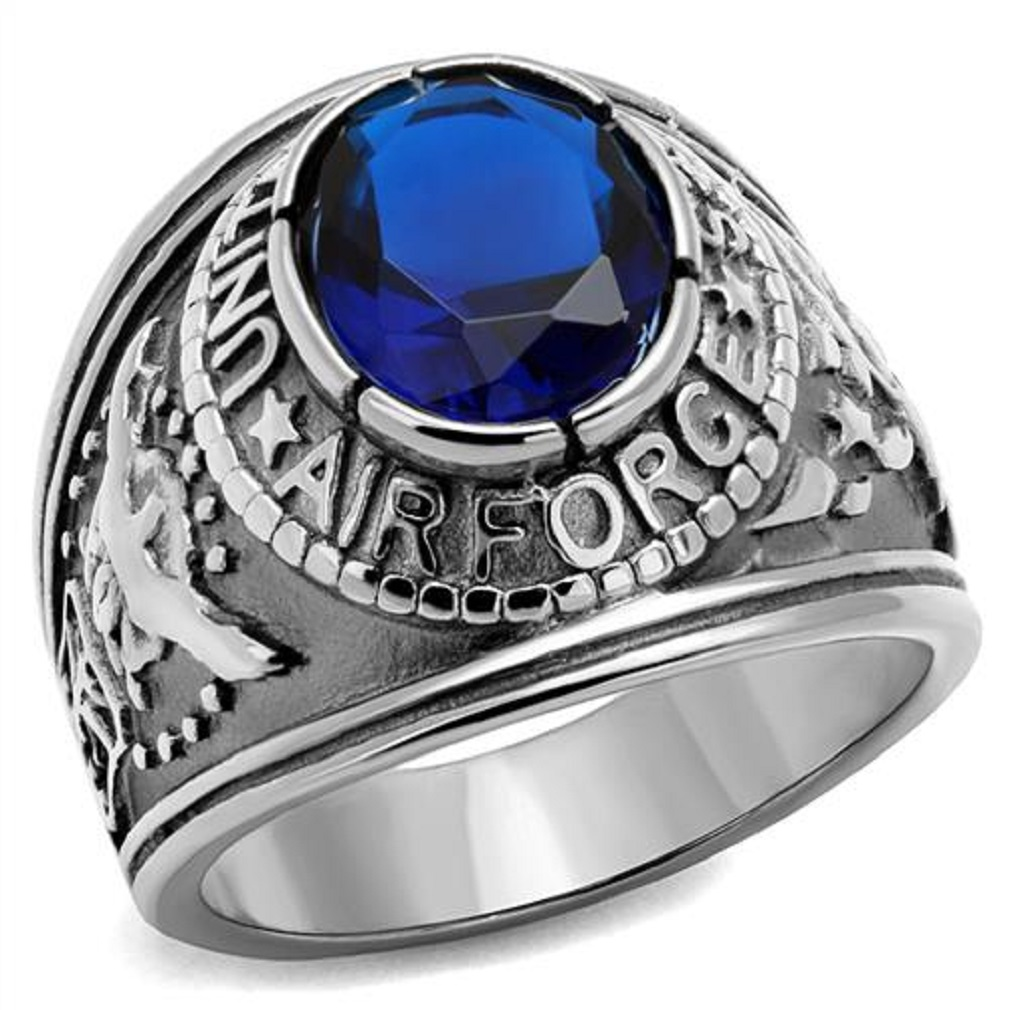 Stainless Steel Mens US Air Force Military CZ Ring-Sizes 8-14 Father's Day Gift